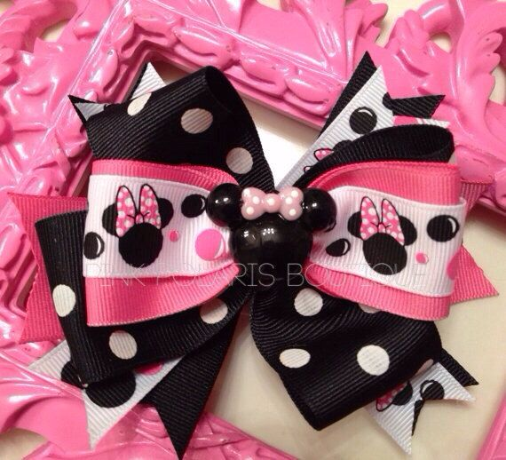 Polka Dot Minnie Boutique Bow with FREE Stretchy Headband on Etsy, $9.50