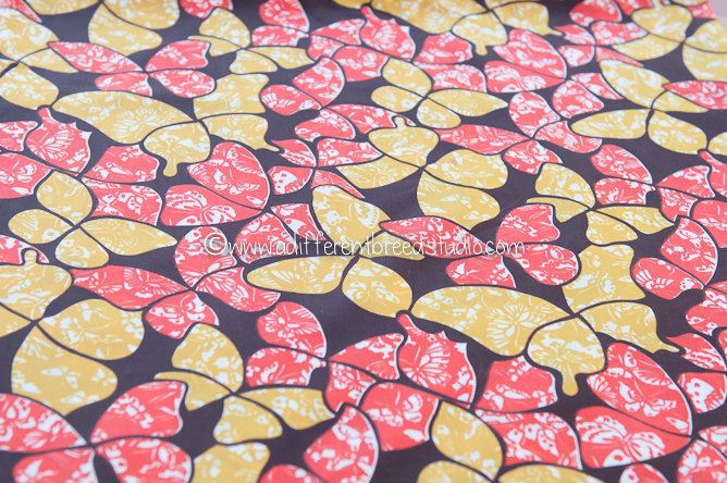 Beautiful Graphic Butterflies  - Vintage Fabric 70s New Old Stock Gold Orange Brown. $14.00, via Etsy.
