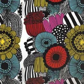 Wallpaper: Siirtolapuutarha Panel in Yellow, Red, Black by Marimekko.