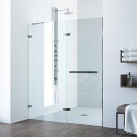 Vigo Nyos 60 In To 61 In W Frameless Chrome Hinged Shower Door Vg6048chcl6074 Frameless Hinged Shower Door Steel Shower Door Sliding Shower Door