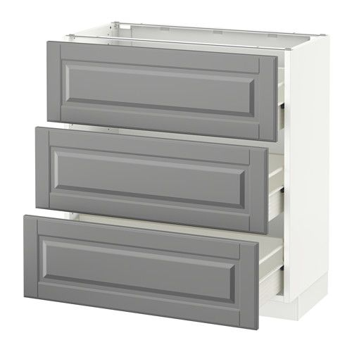 SEKTION Base cabinet with 3 drawers - white, Bodbyn gray, 30x15x30 ...