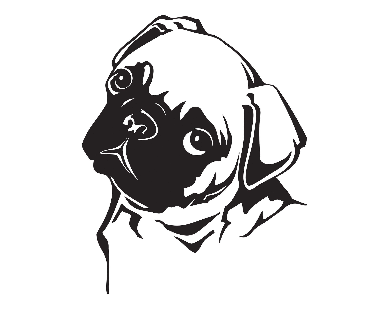 Pug Eyes Turned Head Dog Breed K 9 Animal Pet Puppy Paws Etsy Animal Wall Art Pug Art Drawings