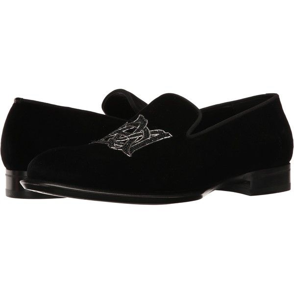 Alexander McQueen Velvet AMQ Slipper (Black) Men's Slip on Shoes ($356) ❤  liked on Polyvore featuring men's fashion, men's shoes, men's slippers,  black, ...