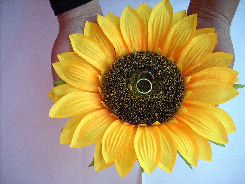 Sunflower Wedding Ring Pillow , Sunflower Ring Holder