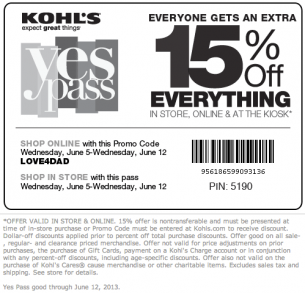 Past Kohl's Coupon Codes