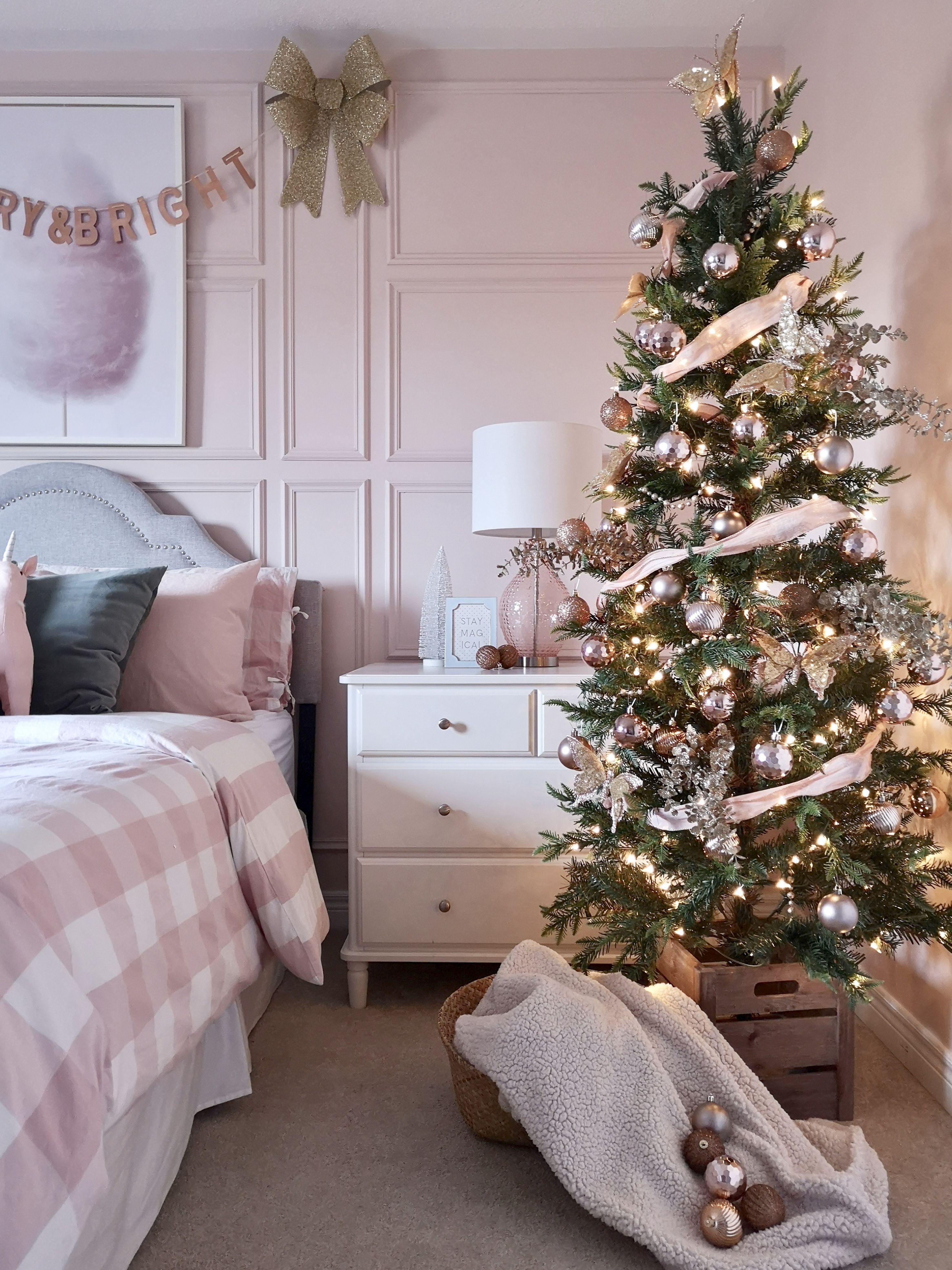 Pretty Pink Girls Christmas Room Project Nursery Christmas Decorations Bedroom Pink Christmas Bedroom Pink Christmas Tree Decorations The girls christmas bedroom