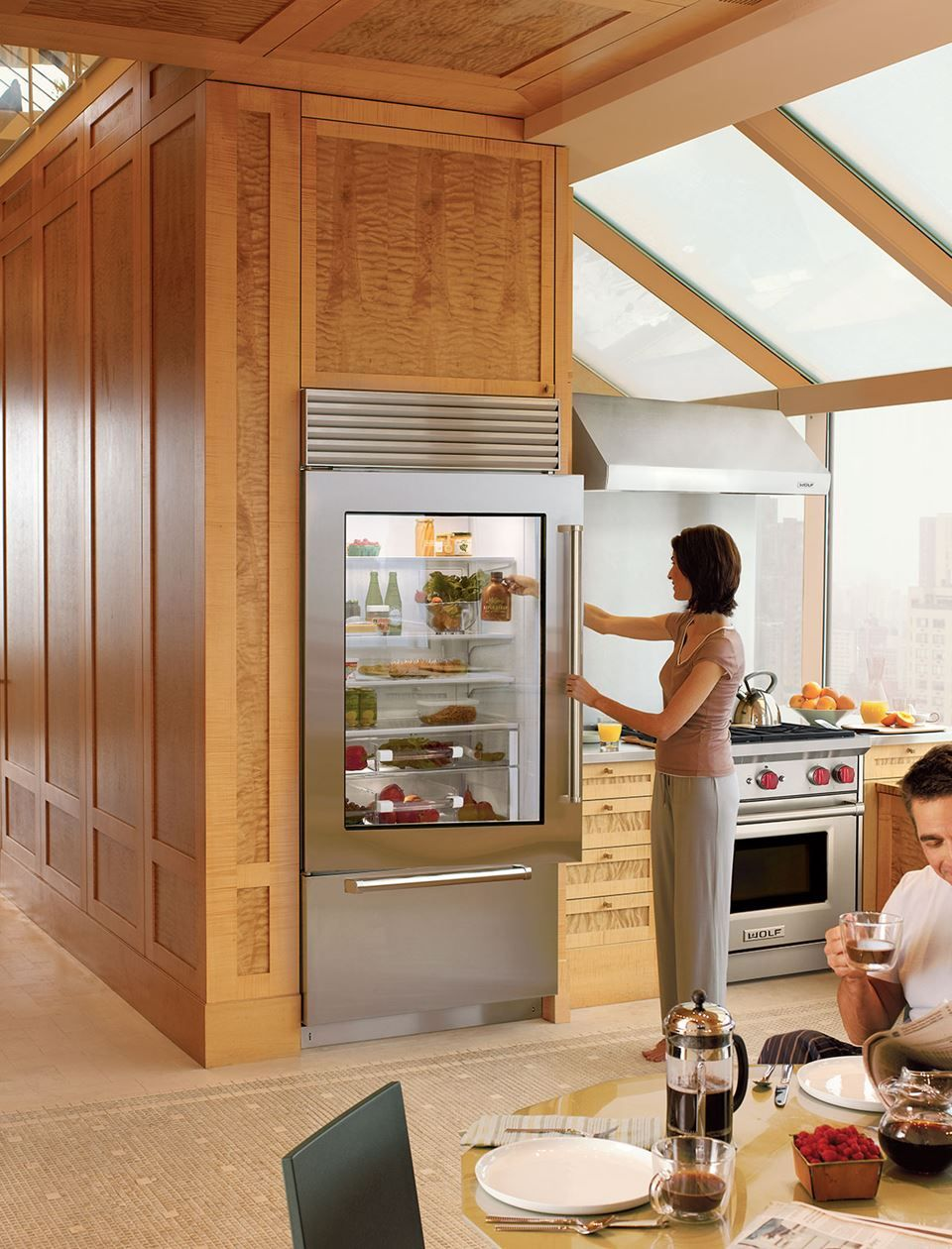 "Sub Zero Glass Door Refrigerator 36"" classic over-and-under refrigerator/freezer with glass"