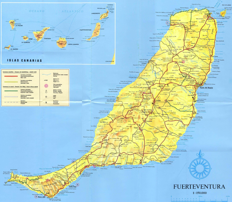 ESPAGNE Iles Canarie Fuerteventura Mapa l island Map carte