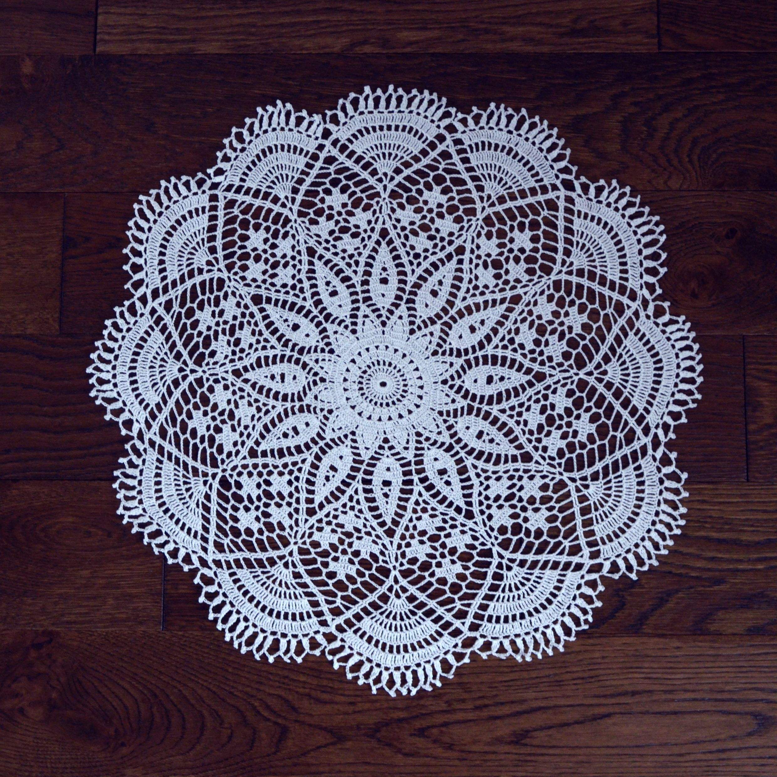 White cotton crochet doily