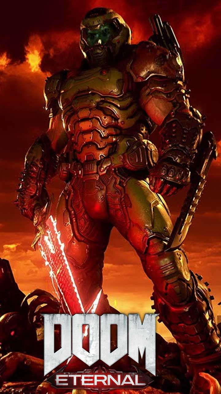Doom Eternal Wallpaper Hd Phone Backgrounds Game Logo Art Monsters On Iphone Android Lock Screen In 2020 Doom Demons Doom Doom Game