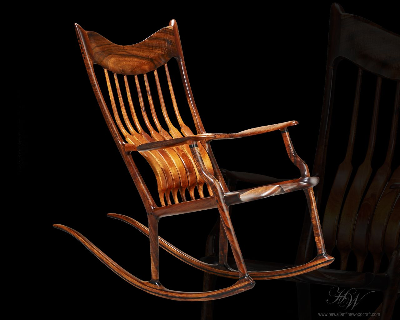 Rocking Chair Fine Woodworking Ergonomic Amazon Hawaiian Woodcraft Koa Rocker Hand Made
