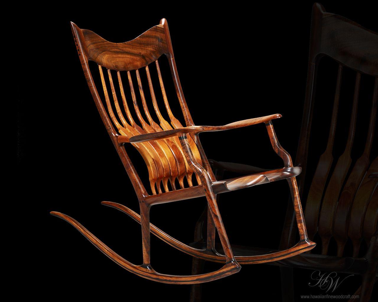 Stupendous Hawaiian Fine Woodcraft Koa Rocker Hand Made Rocking Machost Co Dining Chair Design Ideas Machostcouk