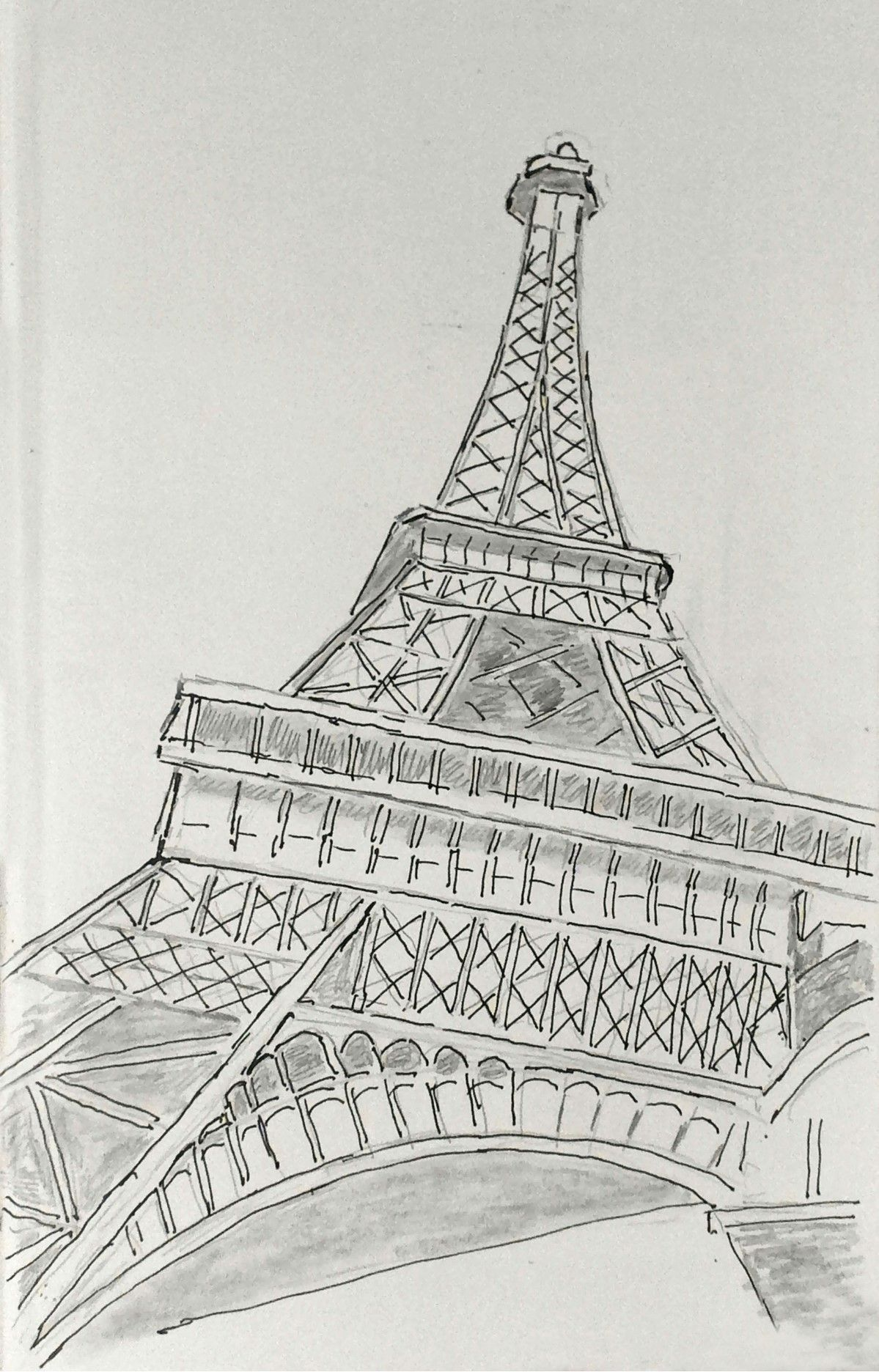 Daily drawing landmark eiffel tower a different perspective see more at facebook com everettswatercolors and like my page