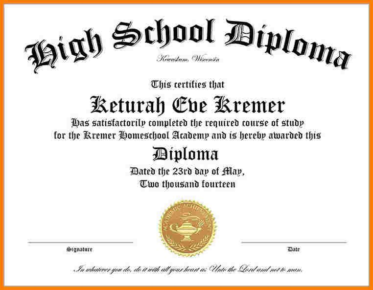 High School Diploma Template Free Download In 2020 Free High