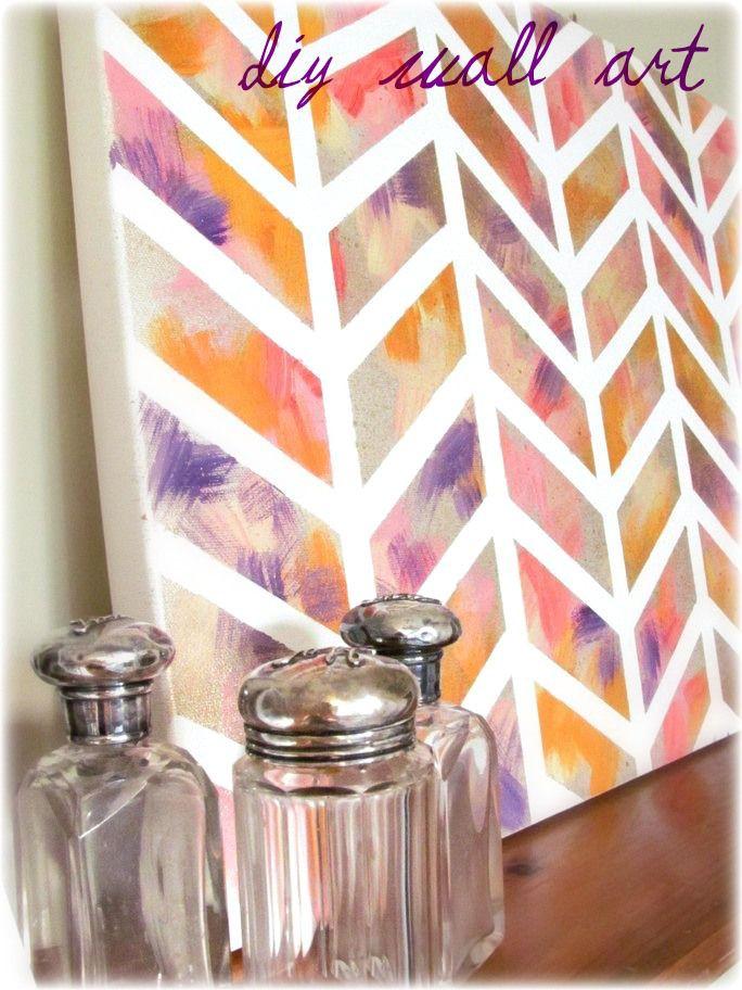Inspiring Decorative Diy Wall Arts Design For Artistic Wall Decor Ideas  Beautiful Colorful Diy Wall Arts Chevron Patterned Brush Painting Canvas  Wall Art ...