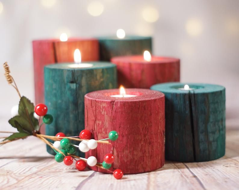 Holiday Decor Christmas Mantle Holiday Candles Rustic Etsy Christmas Candle Centerpiece Christmas Decorations Rustic Rustic Christmas