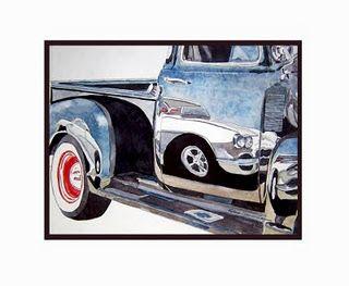 Watercolor Corvette Reflection Truck Art Car Art Drawings