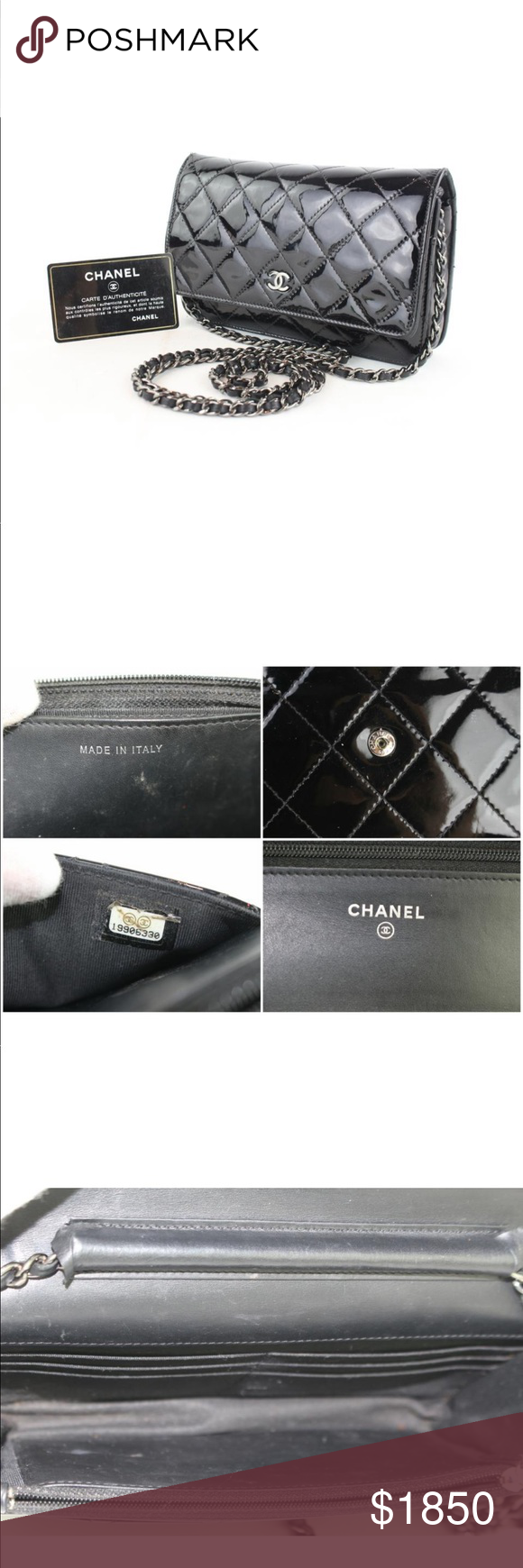 e84d49beffce Patent Leather black Chanel quilted WOC Less on 🅿 Date Code/Serial Number:  19906330 Measurements: Length: 7.5