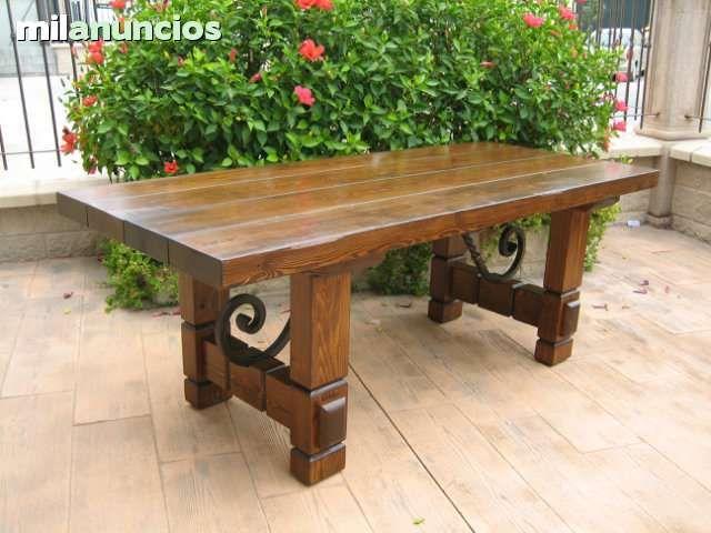 Mesas de madera rustica para comedor buscar con google for Muebles de exterior madera