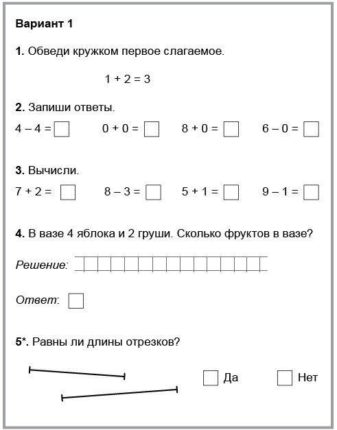 Контрольные работы 1 полугодие школа россии фгос