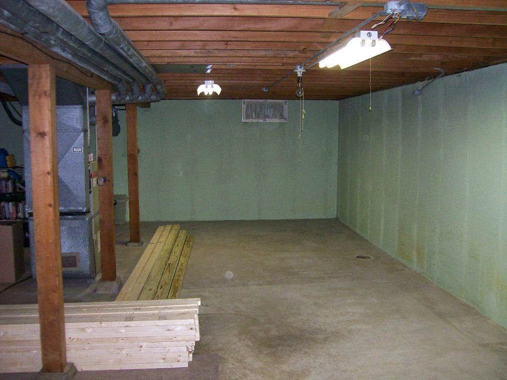 Our unfinished finished basement  it d be easier to live in a tent Pinterest Basements Trim work and Thrifty decor chick