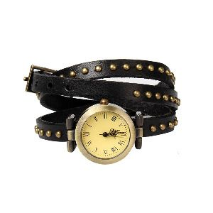 Ladies' Leather Wrap Watch with Rivets in Black - Beyond the Rack