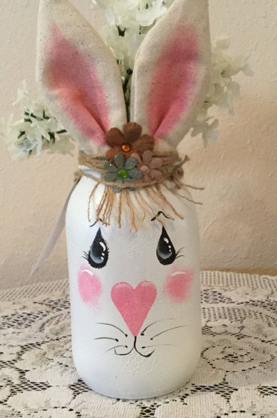 Mason upcycled quart jar easter decor country home bunny lover easter decor country home bunny lover housewarming gift prim easter bunny jar country kitchen burlap decor negle Images