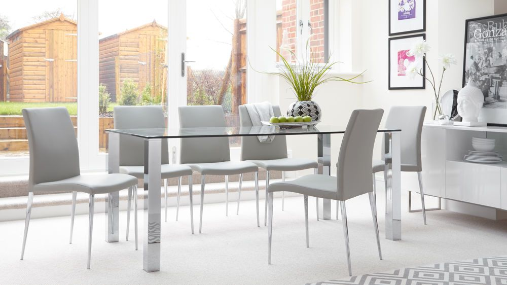 Tiva 6 To 8 Seater Large Glass And Chrome Dining Table Extension
