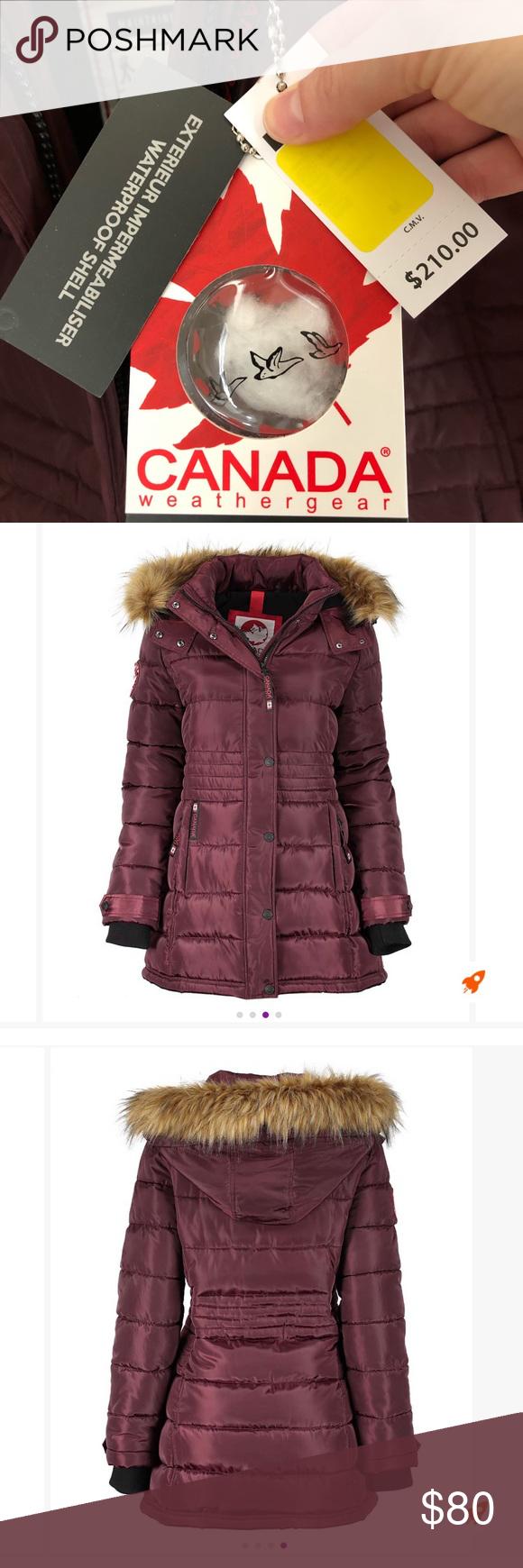 Canada Weather Gear Womens Winter Coat Beautiful Cranberry Colored Women S Winter Puffer Coat Faux Fur Trim Winter Coats Women Winter Women Winter Puffer Coat [ 1740 x 580 Pixel ]