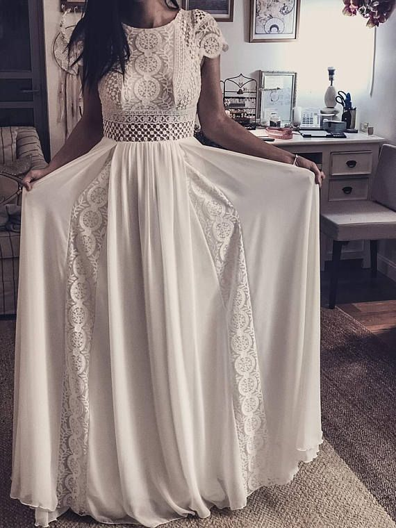 #Boat #Boho #crochet #Dress #Inspirational #Ivory #ladies #neck #Short #Sleeve #Vintage -   Short Sleeve Ladies Dress Vintage Ivory Inspirational BOHO Boat Neck Crochet Chiffon Geometric Lace Beach Wedding KALA KALA #hochzeitskleiderhäkeln