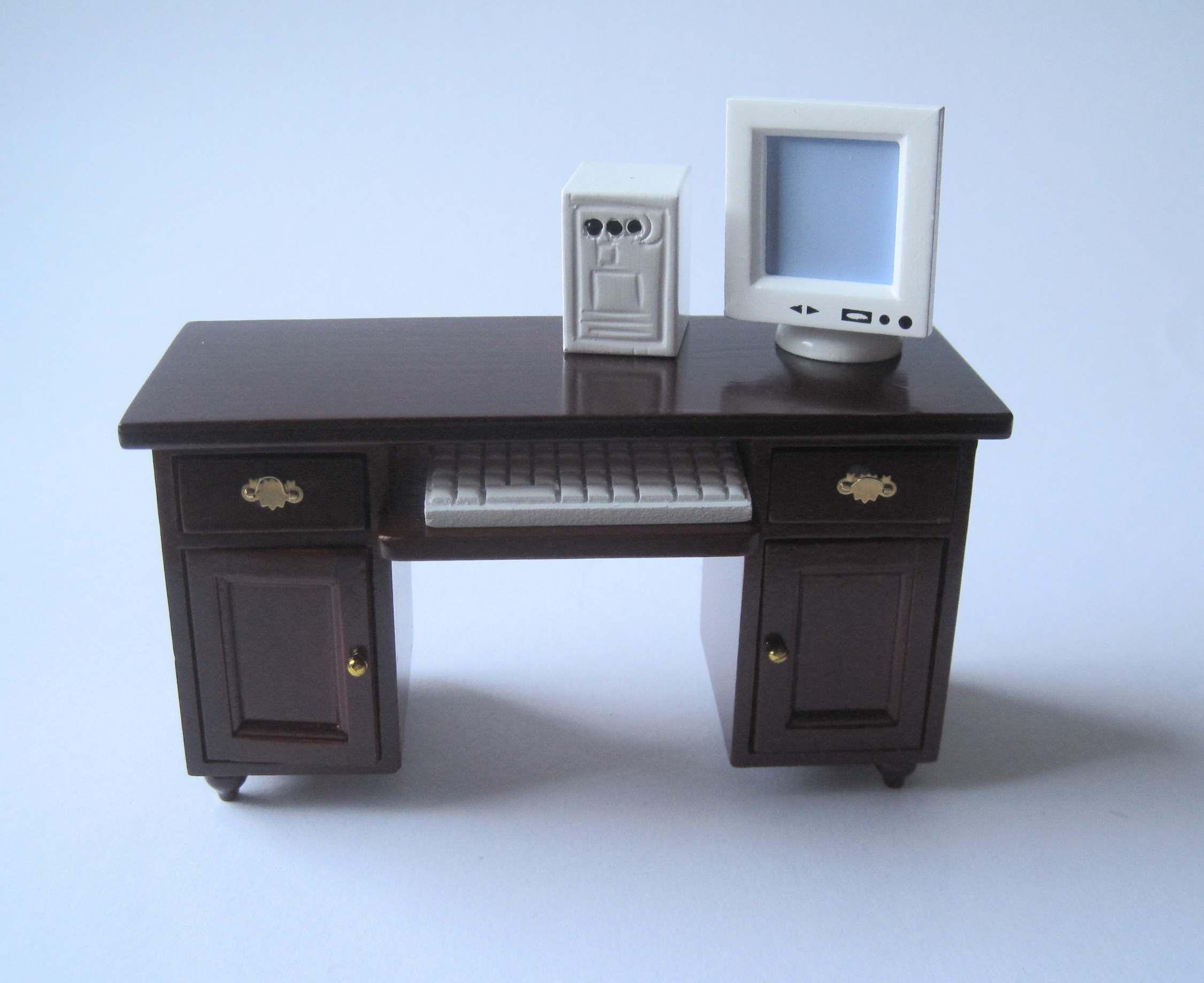 Schreibtisch Mit Computer PC Puppenhaus Möbel Wohnzimmer Miniatur 1:12
