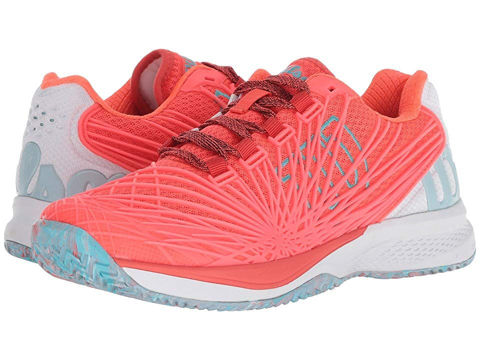 584fcf21a9d5 Wilson Kaos 2.0 (Fiery Coral White Blue Curacao) Women s Tennis Shoes.