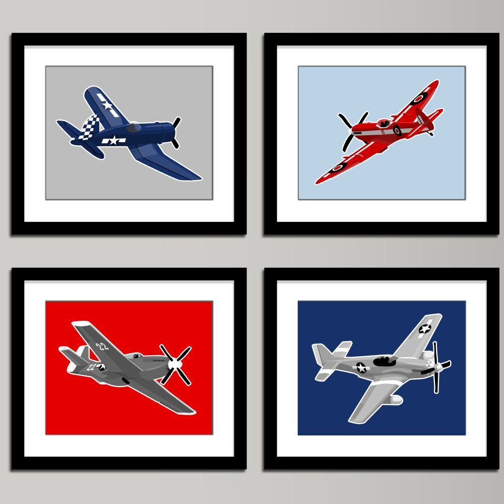 Boys Airplane Nursery Art Ww 2 Set Of 4 Vintage Airplanes