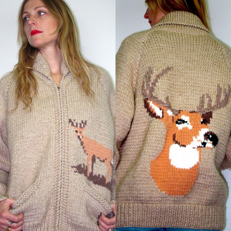 70s Tan Wool Grandpa COWICHAN DEER Knit Sweater ZIp Coat Mens ...