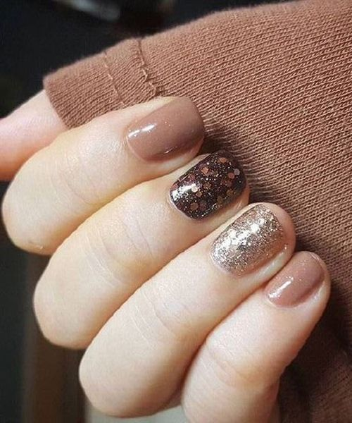 Trendy Glitter Brown Nail Art Designs Nails Pinterest Brown