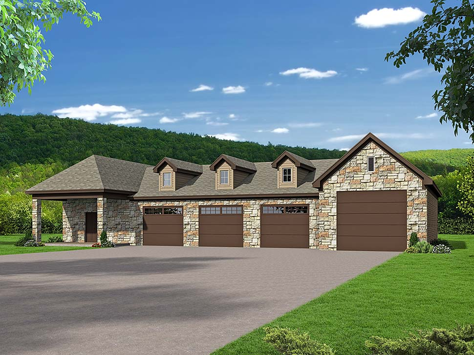 Traditional Style 6 Car Garage Plan Number 51651 Rv Storage In 2020 Large Garage Plans Garage House Plans Garage Plans Detached