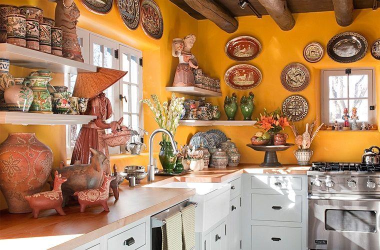 arredamento etnico cucina pareti ocra nel 2019 | Cucine ...