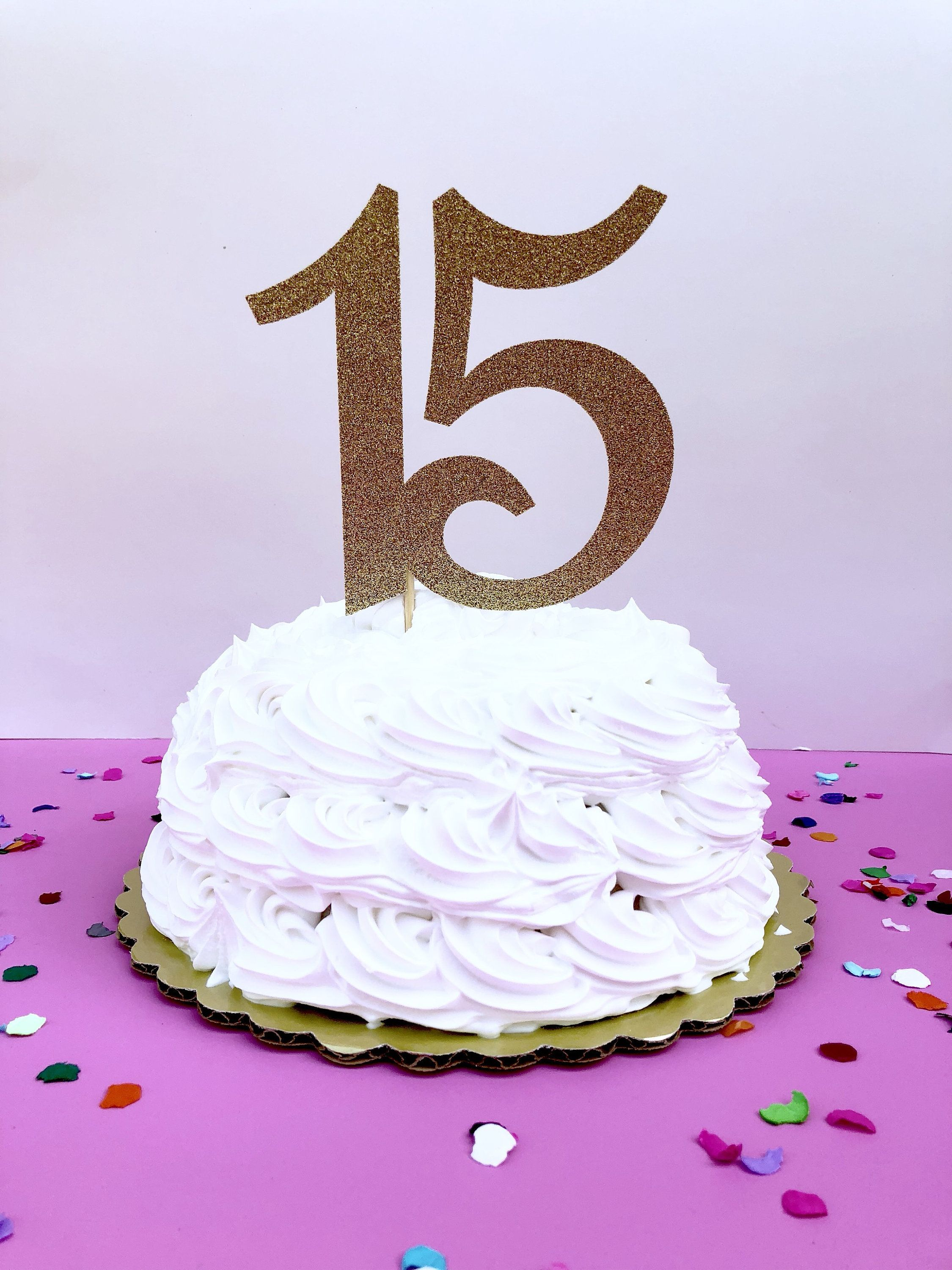 Glitter 15 Birthday Age Cake Topper 15th Birthday Quince