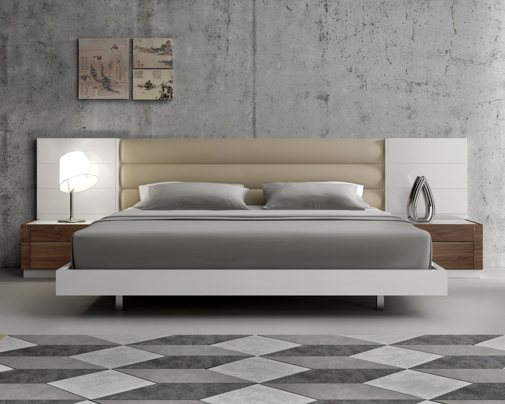 Modern Style Bedroom Furniture Modern Extra Long Headboard Bed With Beige Cushions Beds
