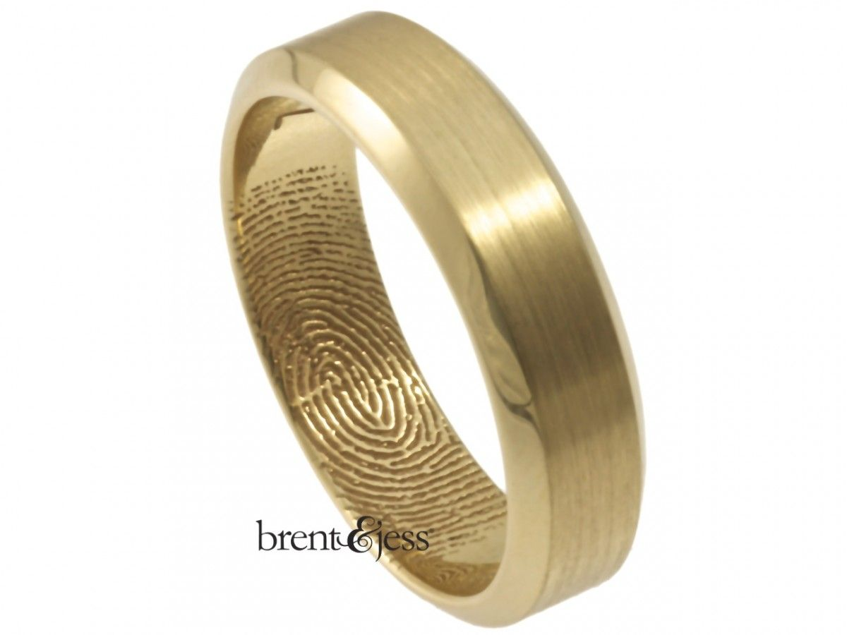 Beveled Edge Fingerprint ... Brent & Jess Fingerprint Wedding Rings Custom Handmade Fingerprint Jewelry