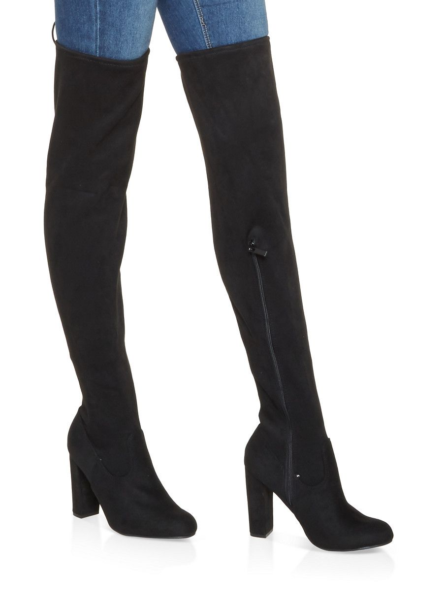 934b0f2625 Tie Back Over the Knee Boots - BLACK SUEDE - Size 10 | Products ...