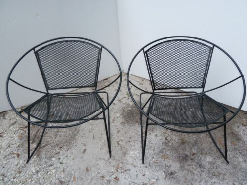 Pair RARE Mid Century Salterini Wrought Iron Patio Round Hoop Rocker ...
