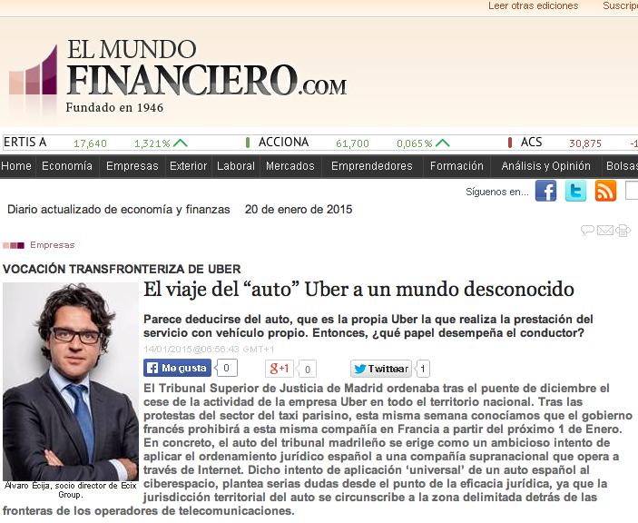Nuestro Socio Director, Álvaro Écija, de nuevo aparece en prensa gracias a su artículo sobre la decisión judicial en España respecto a Uber.