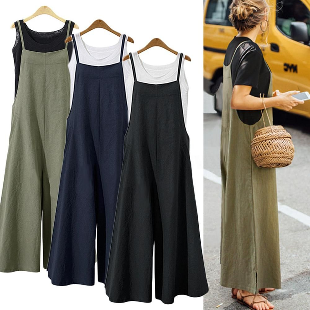 a57bd48531d S-5XL 2018 Summer Women Strappy Solid Comfy Wide Leg Jumpsuits Women s  Casual Loose Dungarees Bib Overalls Cotton Linen Rompers