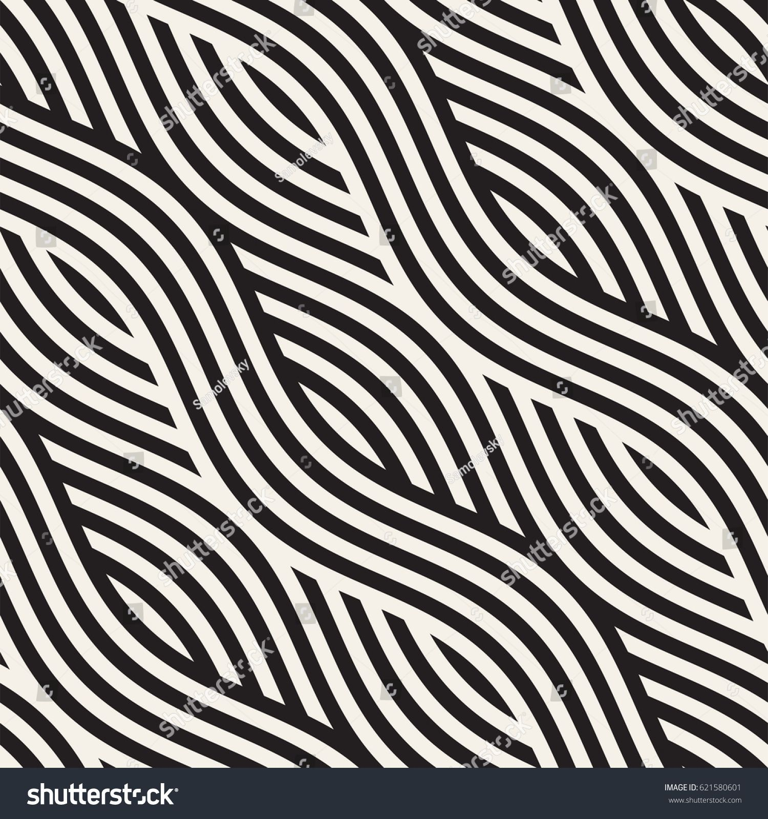 Abstract Geometric Pattern With Wavy Lines Interlacing Rounded Stripes Design Seamless Vec Abstract Geometric Pattern Geometric Pattern Art Geometric Pattern