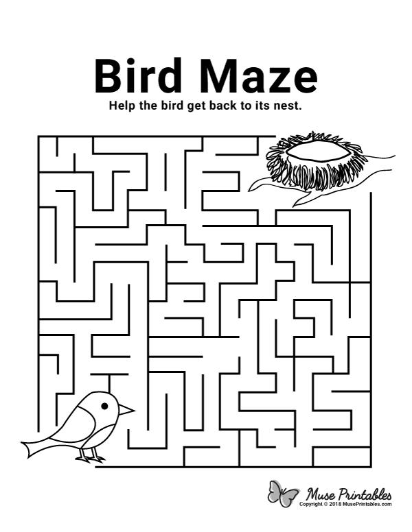 Free Printable Bird Maze. Download It At  Https://museprintables.com/download/maze/bird/ Mazes For Kids Printable,  Mazes For Kids, Free Printable Puzzles