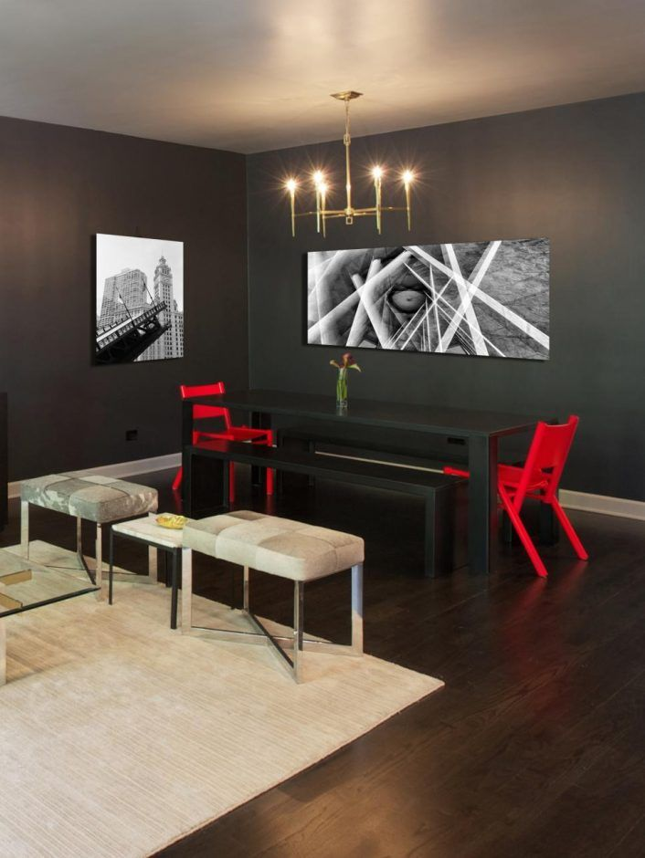 Dining Room: Contemporary Gray Dining Space With Black ...