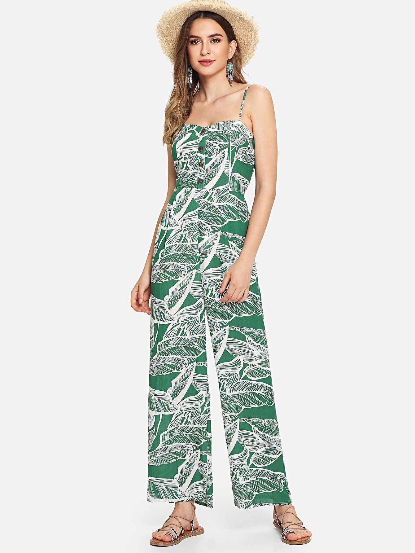 Button Front Jungle Leaf Print Wide Leg Cami Jumpsuit  a6ca11689