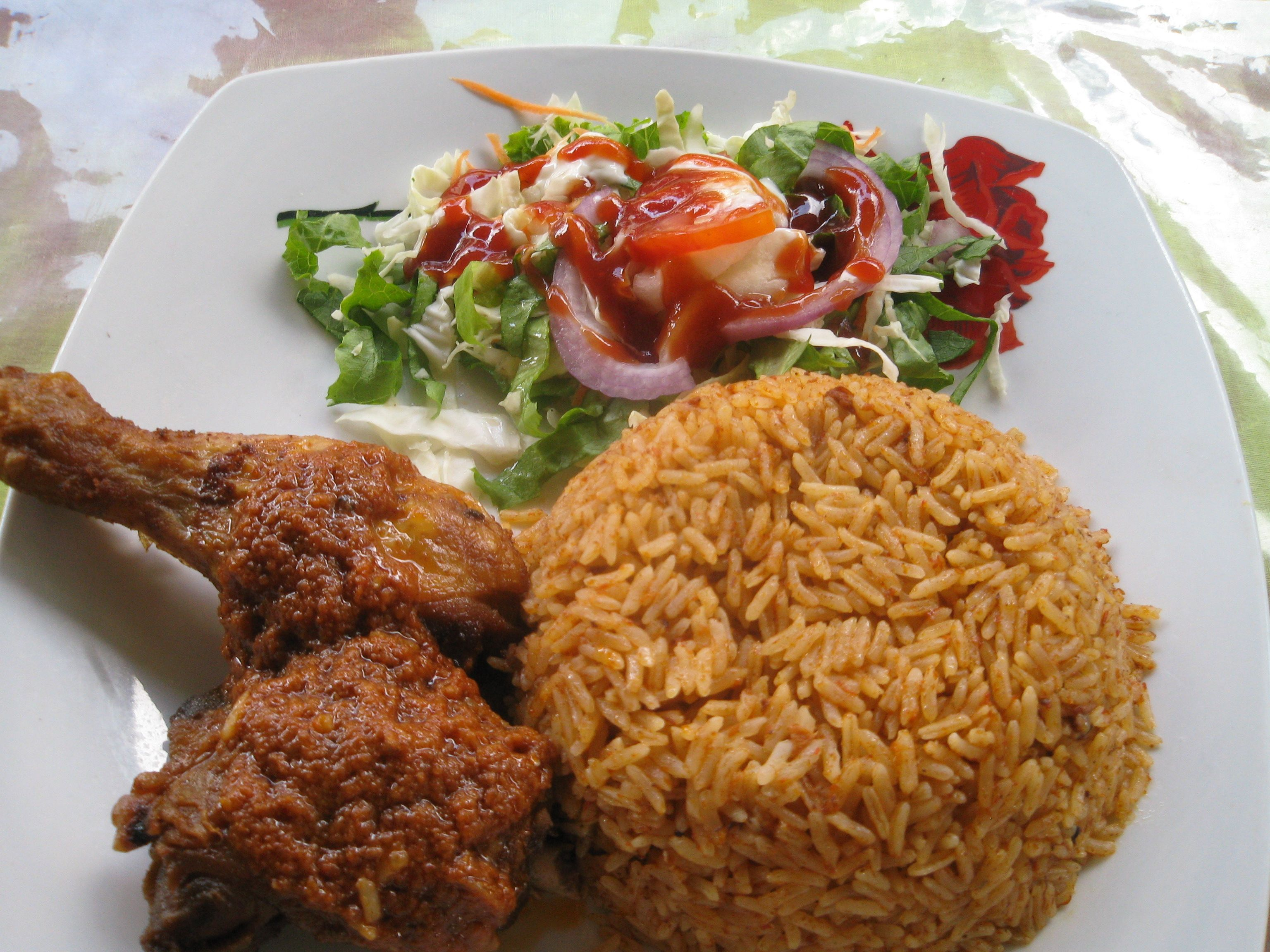 Foods Of Ghana  Food Dish Chicken Onions Tomatoes Kpakpo Ampesi Gari Rice  Episode