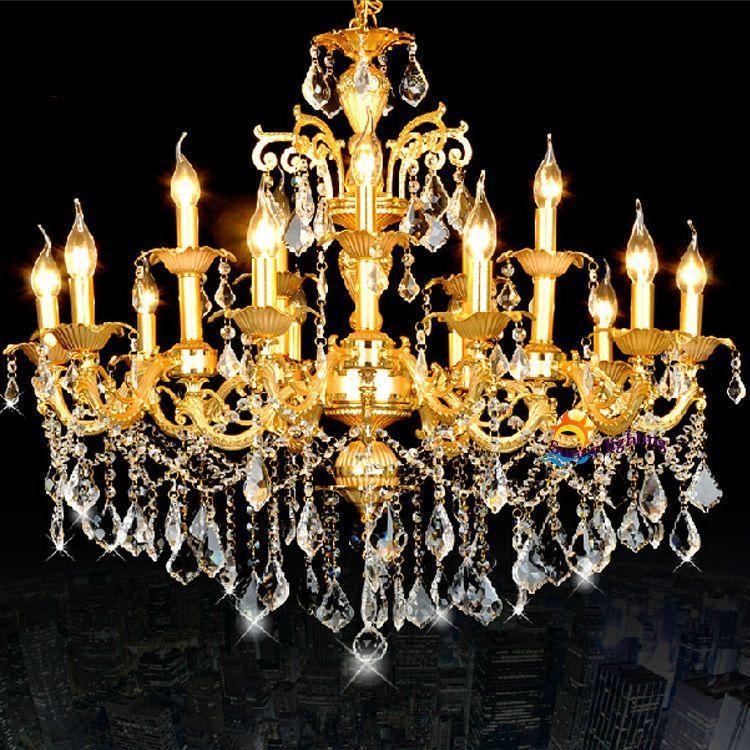 Antique Led Candle Lamps Gold Crystal Chandeliers Hanging Light Luxury Vintage Chandelier Hotel Villa Living